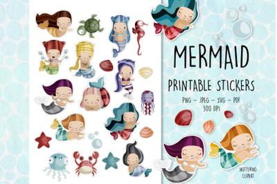 Mermaid Printable Stickers   Set of 21