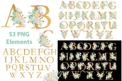 Gold alphabet clipart. Watercolor flowers.