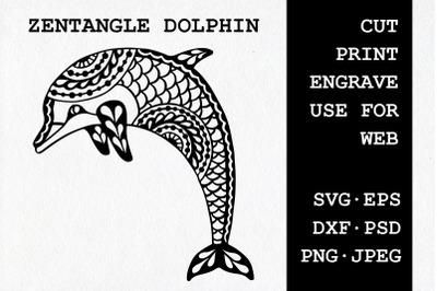 Zentangle Dolphin | SVG DXF EPS PSD PNG JPEG