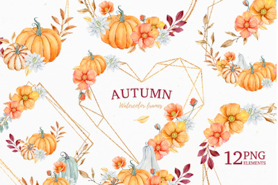 Autumn Watercolor Clipart, Frames and Bouquets