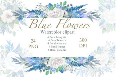 Blue Floral watercolor Clipart, Wedding Arrangements, Frames Borders ,