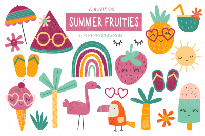 Summer fruities clipart set