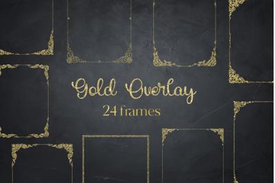 Gold Glitter Frames, Photo Effects,
