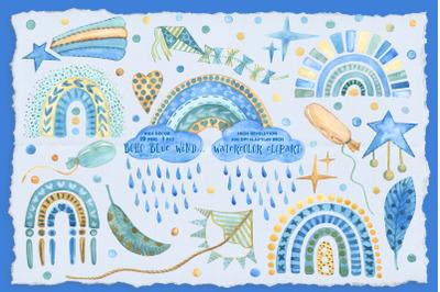 Boho Blue Wind Watercolor Clipart Kids Art