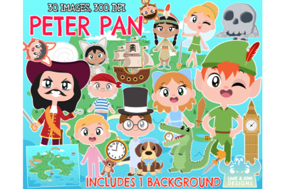 Peter Pan Clipart - Lime and Kiwi Designs
