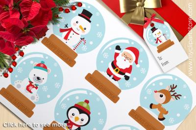 Christmas Snow Globes Vector Clipart