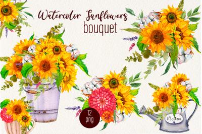 Sunflower and cotton watercolor bouquet clipart