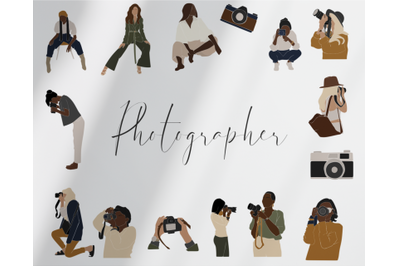 photographer, abstract girl, camera drawing, photography, black girls, freelancer, african american, working clip art, vector art, png svg, urban girl, different people, Boho Art Print