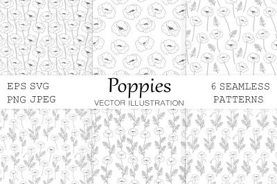 Poppies graphics pattern. Poppies flowers pattern. Poppy SVG