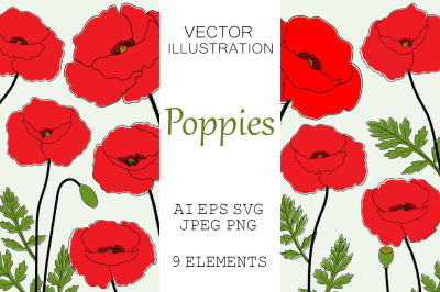 Poppies flowers. Poppies SVG. Poppy vector. Provence flowers