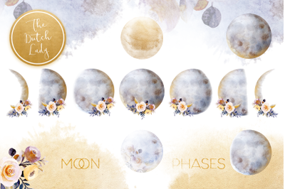 Floral Moon Phases Clipart Set