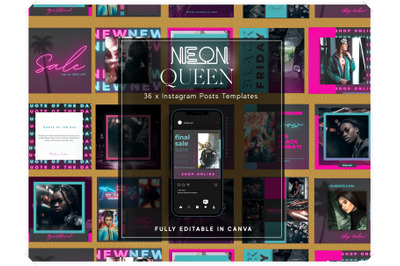 Neon Instagram Posts Templates for Canva