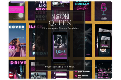 Neon Instagram Story Templates for Canva