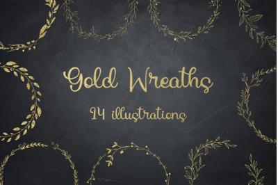 Gold Glitter Laurels Clipart, Laurel Wreaths, Glitter Wreaths
