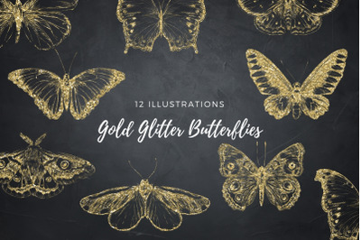Gold Butterflies Collection, Gold Glitter Butterfly, Golden Insects