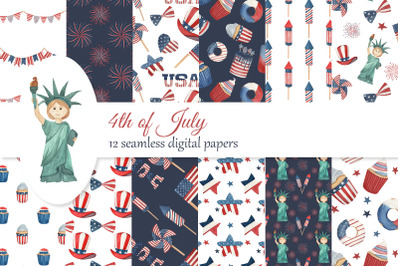 Independence Day digital paper, 4th of July seamless pattern, scrapboo