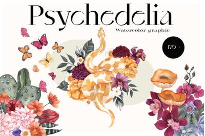Psychedelia. Watercolor graphic.