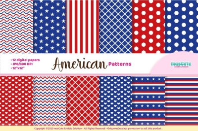Patriotic 4th of july american digital paper