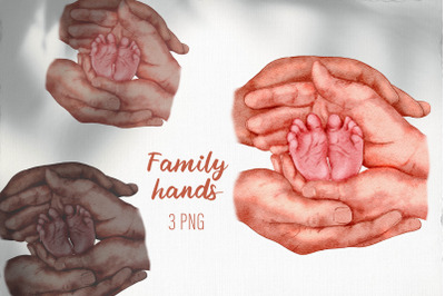 Family clipart / Family hands baby feet sublimation png