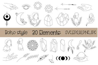 Boho SVG Bundle Mystical,Witchcraft,Crystal svg,Moon,Hands