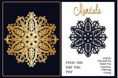 Mandala snowflake. SVG