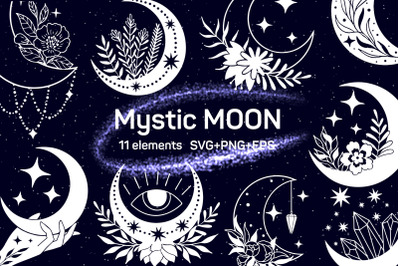 Mystic floral moon set in svg, png and eps