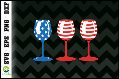 Patriotic Wine Glass Funny 4th of July