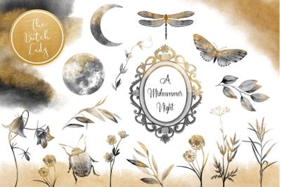 Midsummer Night Field Clipart Set