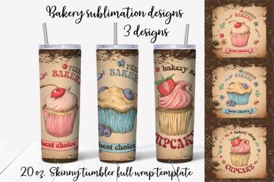 Bakery sublimation design. Skinny tumbler wrap design.