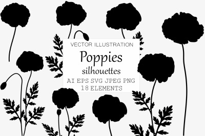 Poppies silhouettes. Poppies SVG. Flowers silhouettes SVG