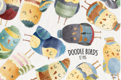 Watercolor Doodle Birds | Set of 12
