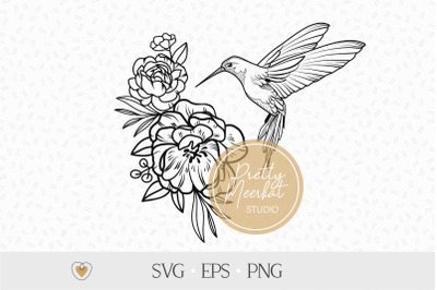 Hummingbird with flowers svg, Flying bird png, Garden