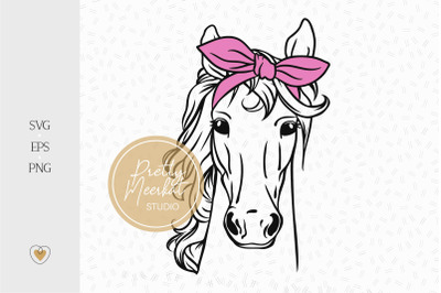 Horse with bandana svg, Horse head svg, Horse lover
