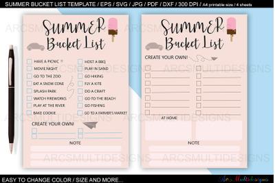 Summer bucket list planner template