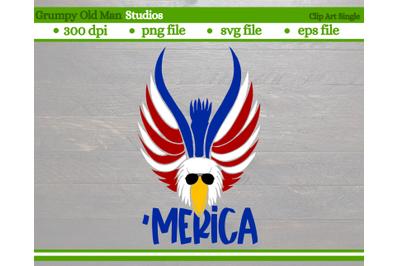 patriotic bald eagle with sunglasses