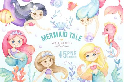 Cute Mermaid Watercolor Clipart