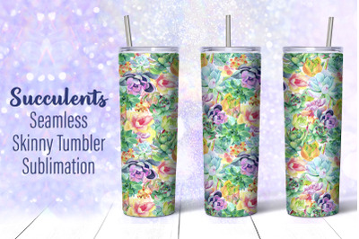 Succulent Tumbler Sublimation, 20oz Tumbler Design PNG
