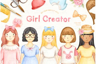 Girl Creator Watercolor Clip Arts