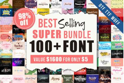 Best Selling 100 Plus Fonts Super Bundle