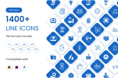 Collection of 1400+ line icons set