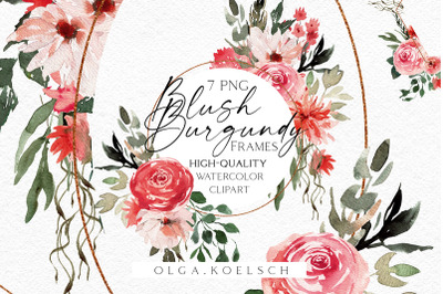 Boho frames clipart, Blush and burgundy clipart, Watercolor pink png
