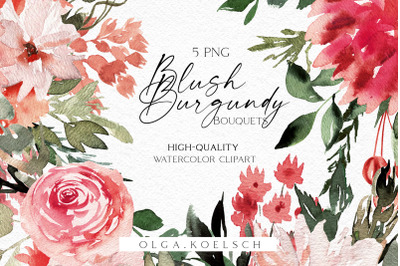 Boho bouquet clipart, Blush and burgundy clipart, Watercolor pink