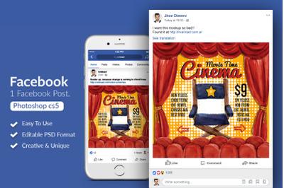 Cinema Movie Time Facebook Post