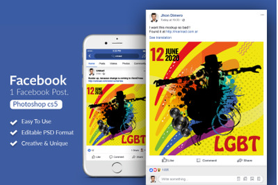LGBT Pride Party Facebook Post Banner