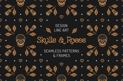 Skull & Roses: patterns, frames