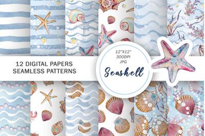 Watercolor seashells digital paper seamless patterns