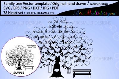 78 heart family tree vector