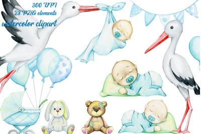 Watercolor clipart set. baby nursery decor, It's a boy, digital illust