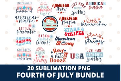 4th of July Fourth of July Sublimation PNG Design Bundle
