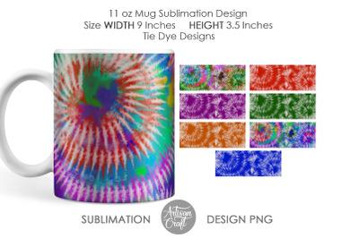 Tie dye mug sublimation designs, 11 oz Mug template